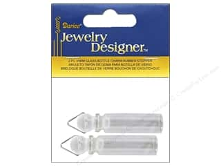 Darice Jewelry Designer Glass Bottle Charm with Rubber Stopper 2 pc.