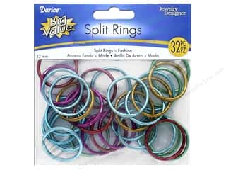 beading & jewelry making supplies: Darice Jewelry Designer Split Rings 1 1/4 in. Assorted Colors 32 pc.
