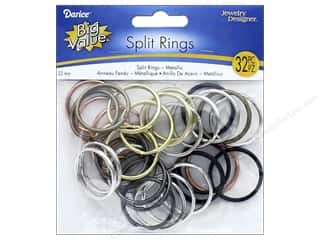 beading & jewelry making supplies: Darice Jewelry Designer Split Rings 1 1/4 in. Assorted Metallic 32 pc.