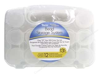 beading & jewelry making supplies: Darice EZ Travel Bead Case 8 x 5 1/2 x 2 in. with 12 Containers