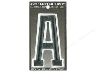 "Joy Lettershop Iron-On Embroidered Letter ""A"" 3 in. Black"