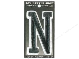 "Joy Lettershop Iron-On Embroidered Letter ""N"" 3 in. Black"