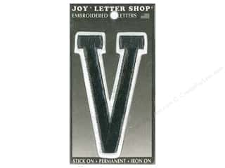 "Joy Lettershop Iron-On Embroidered Letter ""V"" 3 in. Black"