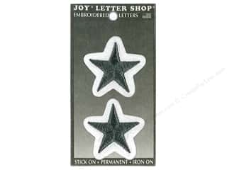 Joy Lettershop Iron-On Embroidered 1 1/2 in. Star 2 pc. Black