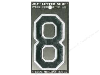 "Joy Lettershop Iron-On Embroidered Number ""8"" 3 in. Black"