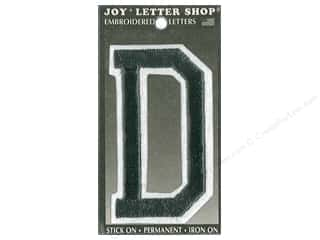 "Joy Lettershop Iron-On Embroidered Letter ""D"" 3 in. Black"