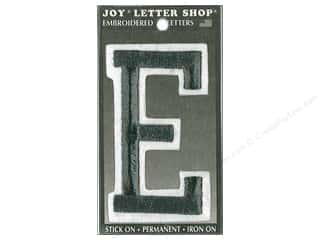 "sewing & quilting: Joy Lettershop Iron-On Embroidered Letter ""E"" 3 in. Black"
