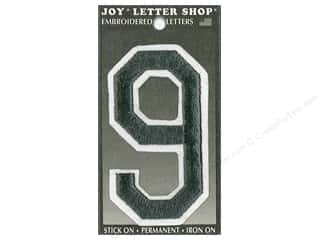"Joy Lettershop Iron-On Embroidered Number ""9"" 3 in. Black"