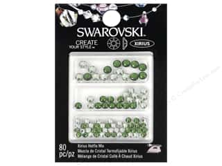 beading & jewelry making supplies: Cousin Swarovski Hotfix Rhinestones 80 pc. Mix Chrysolite/Fern Green