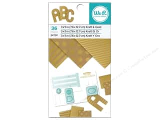 "We R Memory Paper Pad 3""x 5"" Kraft With Gold Foil 36pc"