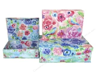 Punch Studio Nesting Boxes Large Painterly Rose Set/3
