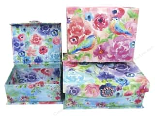 Gifts & Giftwrap: Punch Studio Nesting Boxes Brooch Flap Trinket Painterly Rose