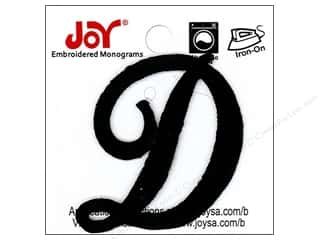 "Joy Lettershop Iron-On Embroidered Letter 1 1/2 in. Script ""D"" Black"