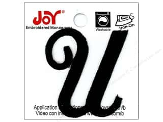 "Joy Lettershop Iron-On Embroidered Letter 1 1/2 in. Script ""U"" Black"