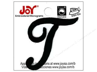 "Joy Lettershop Iron-On Embroidered Letter 1 1/2 in. Script ""T"" Black"