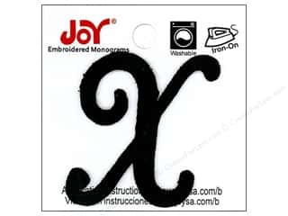 "Joy Lettershop Iron-On Embroidered Letter 1 1/2 in. Script ""X"" Black"