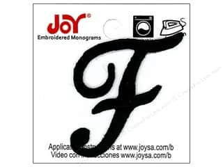 "Joy Lettershop Iron-On Embroidered Letter 1 1/2 in. Script ""F"" Black"
