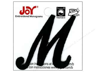 "Joy Lettershop Iron-On Embroidered Letter 1 1/2 in. Script ""M"" Black"