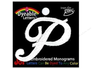 "Joy Lettershop Iron-On Embroidered Letter 1 1/2 in. Script ""P"" Dyeable"