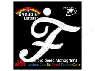 "Joy Lettershop Iron-On Embroidered Letter 1 1/2 in. Script ""F"" Dyeable"