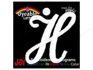 """Joy Lettershop Iron-On Embroidered Letter 1 1/2 in. Script """"H"""" Dyeable"""