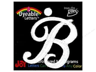 "6 inch iron on letters Iron On Patches: Joy Lettershop Iron-On Embroidered Letter 1 1/2 in. Script ""B"" Dyeable"
