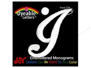 "6 inch iron on letters Iron On Patches: Joy Lettershop Iron-On Embroidered Letter 1 1/2 in. Script ""I"" Dyeable"