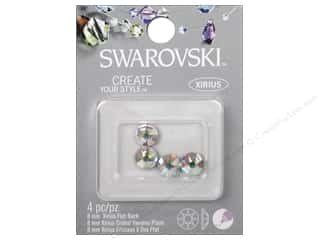 craft & hobbies: Cousin Swarovski Xirius Flatback Rhinestones 8 mm 4 pc. Aurora Borealis