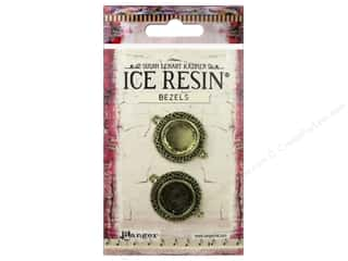 beading & jewelry making supplies: Ranger ICE Resin Milan Bezels 2 pc. Small Circle Antique Bronze