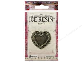 beading & jewelry making supplies: Ranger ICE Resin Milan Bezels 1 pc. Medium Heart Antique Bronze