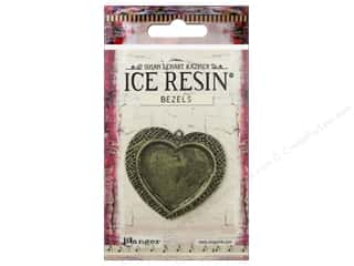 beading & jewelry making supplies: Ranger ICE Resin Milan Bezels 1 pc. Large Heart Antique Bronze