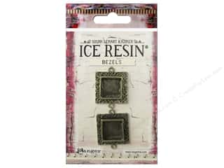 beading & jewelry making supplies: Ranger ICE Resin Milan Bezels 2 pc. Small Square Antique Bronze