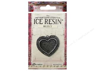 beading & jewelry making supplies: Ranger ICE Resin Milan Bezel Medium Heart Antique Silver