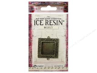 beading & jewelry making supplies: Ranger ICE Resin Milan Bezels 1 pc. Medium Square Antique Bronze