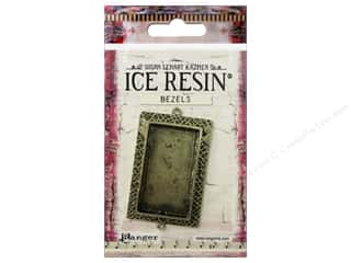 beading & jewelry making supplies: Ranger ICE Resin Milan Bezels 1 pc. Large Rectangle Antique Bronze