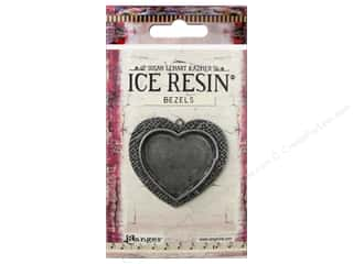 beading & jewelry making supplies: Ranger ICE Resin Milan Bezels 1 pc. Large Heart Antique Silver