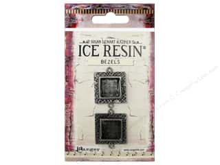 resin: Ranger ICE Resin Milan Bezels 2 pc. Small Square Antique Silver