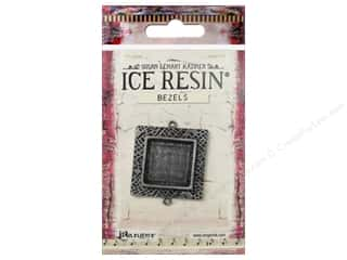 resin: Ranger ICE Resin Milan Bezels 1 pc. Medium Square Antique Silver