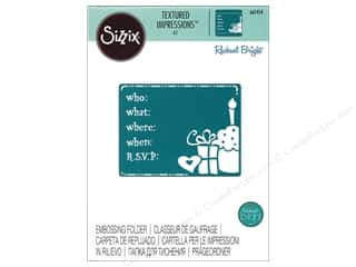 scrapbooking & paper crafts: Sizzix Textured Impressions Embossing Folders 1 pc. Birthday Invitation