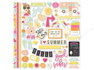 Simple Stories: Simple Stories Stickers Sunshine & Happiness Cardstock Fundamentals (12 sets)