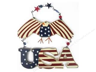 craft & hobbies: Darice Decor Wood Wall Eagle USA 9.2""