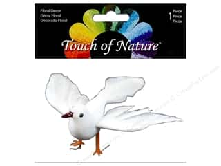 decorative floral: Midwest Design Artificial Birds 7 1/2 in. Feather Dove White 1 pc. Open Wing
