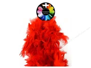 Feathers: Midwest Design Turkey Flat Chandelle Feather Boa 2 yd. Red
