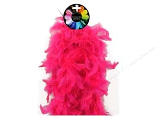 Feathers: Midwest Design Turkey Flat Chandelle Feather Boa 2 yd. Hot Pink
