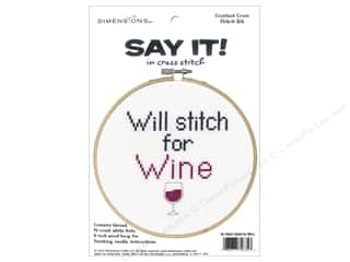 projects & kits: Dimensions Counted Cross Stitch Kit 6 in. Say It! Stitch For Wine