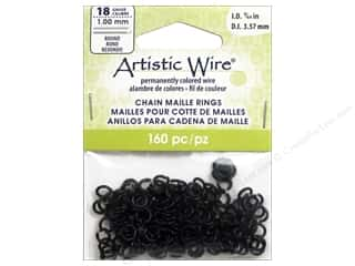 beading & jewelry making supplies: Artistic Wire Chain Maille Jump Rings 18 ga. 9/64 in. Black 160 pc.