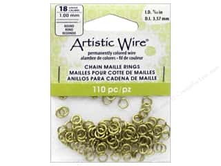 beading & jewelry making supplies: Artistic Wire Chain Maille Jump Rings 18 ga. 9/64 in. Brass 110 pc.