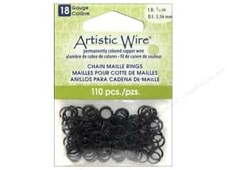 beading & jewelry making supplies: Artistic Wire Chain Maille Jump Rings 18 ga. 7/32 in. Black 110 pc.