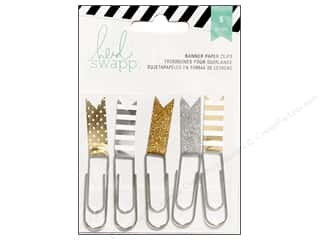 Heidi Swapp Paper Flag Clips 5 pc. Gold & Silver
