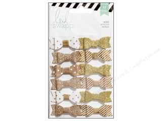 Heidi Swapp Fabric Bows 12 pc. Gold & White